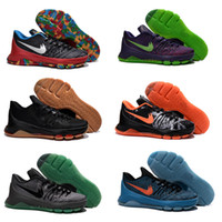 Acheter Kd chaussures hommes taille 12-2016 Nouveau KD8 Hunt's Hill Sunrise Vente en gros KD 8 VIII Bright Crimson V-8 Cheap Hommes Basketball Chaussures Homme Sport Sneakers V8 Kds taille 7 ~ 12