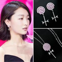 Estrella con los pendientes de la cadena clavícula japonesa y coreana cute lollipop collar de plata de ley zircon pendientes pendientes anti-alérgica pendientes