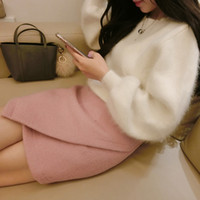 Wholesale Rabbit Fur Cashmere Sweater Women Sweaters and pullovers Mink fur Cashmere Knitted Pullover ladies sweater