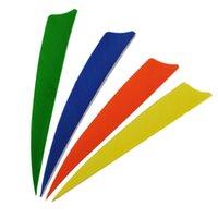 100pcs / lot 4 pouces palette gauche pelure bouclier plumes pour la flèche arc chasse en plein air tir à l'arc divers choix de couleurs solides dans les sports de plein air