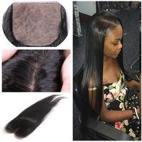 Peruvian Virgin Human Hair Natural Color Straight Silk Base Closure 4*4 inch Hidden Knots 7A Grade Straight Peruvian Brazilian Indian Malaysian Virgin Human Hair Cheap Silk Closure