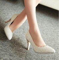 ankle strap pumps photo - White dress party golden wedding shoe heels bridesmaid shoes crystal light color photos single female small code