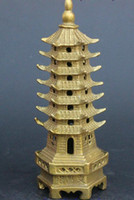 Green antique chinese figurines - Chinese Buddhism Brass WenChang Stupa Pagoda Tower Statue Figurine