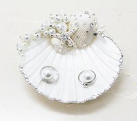acrylic candy trays - Unique Sweet Romantic Handmade Ring Tray Wedding Ring Pillow Candy Shell Pearl Rhinestone Jewelry Tray