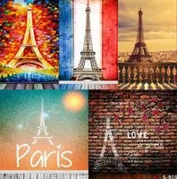Wholesale 5X7FT Romantic Eiffel Tower Paris Vinyl Backdrop Background For Kid Photos Studio Computer Printed Photography Senior Backgrounds Backdrops