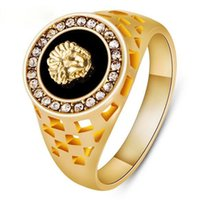 Wholesale New Fashion K Gold or Sivler Plated CZ Crystal Superhero Black Lion Men Ring for Women Men Animal Anel Fashion Jewelry