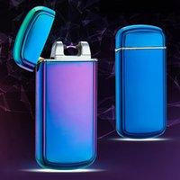 Wholesale Hot shake arc cigarette lighter USB rechargeable lighter ultra thin metal exterior environmental cigarette lighter