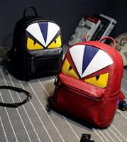 Wholesale Little Devil Little Monster Personalized yellow eyes shoulder backpack distributors monster pu leather shoulder bags