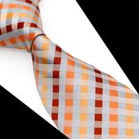 al por mayor juegos de negocio amarillo-T092 Checked Multicolor Grey Silver Red Yellow Mens Ties Corbatas 100% de seda Jacquard Woven Casual negocio formal regalo de traje para los hombres