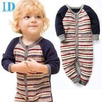 Wholesale IDGIRL Baby Boy Clothes Knitting Baby Rompers Winter Christmas Thicken Hooded Warm Baby Girl Clothes Roupas Bebe JY0291