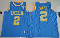 Wholesale 2017 UCLA Bruins Lonzo Ball Zach LaVine Blue White Jersey New Style Stitched All Name Number Jerseys Embroidery logos Free Shipp