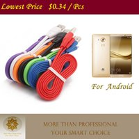 Wholesale 1M FT Micro USB Data Cable Noodle Flat Charging Line Charging cords for Huawei Samsung Galaxy S4 S6 S7 Edge Sony HTC Nokia