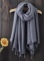 Wholesale high quality Autumn and winter hang to pure color tassel big squares Cotton and linen scarf shawl beach scarf to travel
