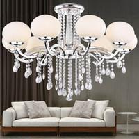 achat en gros de verre abat-jour en cristal-New LED 9 Shades Glass Shade Crystal Plafonnier Lampe Lampe moderne de mode Lustre Lampe circulaire salle à manger chambre à coucher Plafonnier