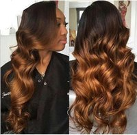 Wholesale High quality ombre color full lace wig loose wave bT4 brazilian virgin hair two tone lace front wig