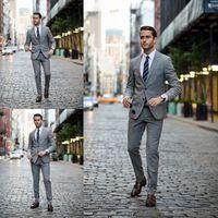 Wholesale Notched Lapel Tuxedos For Men Side Vent Mens Slim Fit Two Pieces Suits Blazers Groom Wear