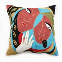 Wholesale FULL EMBROIDERY Chain Embroidered quot High End Picasso Abstract Paintings Cushion Cover Throw Embroidered Pillow Case ColorB