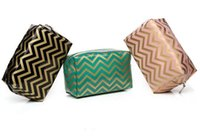 chevron bag - Chevron Wave Pattern Zipper Cosmetic Bag Cosmetic Storage Waterproof PVC Makeup Tote Bag Toiletry Pouch With Brillant