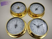 Wholesale 4 set Brass Case Traditional Weather Station Barometer Temperature Hygrometer Humidity and Clock White Dial mm B9115