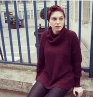Shirt donne maglione allentato moda AA maglia del ponticello del pullover signore maglione Collo maniche lunghe ispessita base Tops Maglieria
