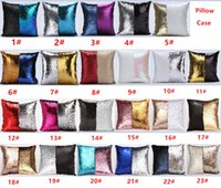 Wholesale 23 Colors Double Sequin Pillow Case cover Glamour Square Pillow Case Cushion Cover Home Sofa Car Decor Mermaid Bright Pillow Covers