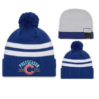 Wholesale Blue Chicago Cubs Beanies Hot Sale Baseball Beanie Hats Pompom Beanies Warmth Winter Hats Skull Caps Adults Beanie Hat Sports Team Beanies