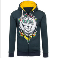 animal pulls - 2017 men s fashion design printed hoodie New design animal print pull zipper fleece jacket leisure style freight coat