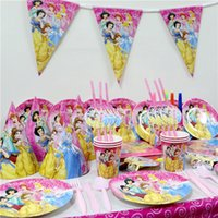 Wholesale Princess Tablecover Paper Napkins Plates Kids Favors Cups Baby Shower Bags Birthday Party Straws Decoration Supplies