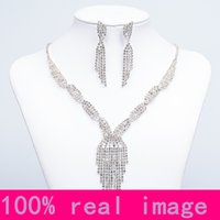 Wholesale Silver Jewellery Necklace Sets - Cheap Bling Bridal Jewelry Crystal Rhinestones Bride Prom Wedding Jewellery Sets 2016 Necklace Drop Earrings Bridal Accessories 15032