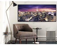 Wholesale Modern New York Manhattan City Night View Panorama Photo Poster Picture Canvas Print Home and Hotel Cafe Office Wall Decoratio