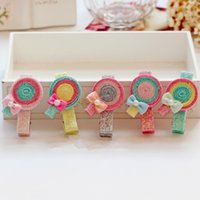 baby lollipops - Fashion Glitter Cute Lollipop Baby Hair Clips Solid Cartoon Candy Color Hair Bow Baby Infant Hairpins