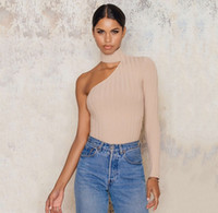 Wholesale 2017010314 Women Sweaters One Shoulder Sexy Solid Light Khaki Pullovers Elegant Knitted Shaping Female Sweaters