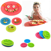 Wholesale Happy Mat Silicon Bowl Fashion Tableware Place mat with Plate in One piece Baby Feeding Learning Silicone Cups EC