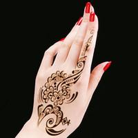 Wholesale New Tattoo Body Art Henna Mehndi Stencils Indian Wedding Flower Stickers Hand Feet Paint Template Stencil Glitter Tattoo PC