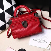 artwork shipping boxes - New length cm crocodile pattern embossed genuin leather bag small box of cowhide box bag fashion female shoulder bag