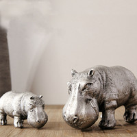 Wholesale Creative resin Hippopotamus figure home Ornament Craft for Home Decor Window Display and xams gift
