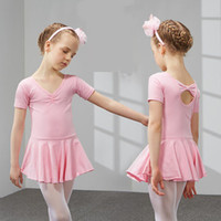 Wholesale Children s cotton and spandex dance clothing Summer baby girl uniforms short sleeve ballet dance dress JQ