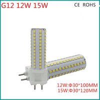 Acheter Lampe halogène 15w conduit-Grossiste - éclairage à 360 degrés 15W G12 LED maïs Lumière Spotlight LED Ampoule spot remplacement de lampe 100W halogène AC85-265V