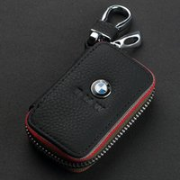 audi leather wallet - Car Key Case Premium Leather Chains with Holder Zipper Remote Wallet Bag cover accessories for BMW BENZ AUDI Volvo Volkswagen VW