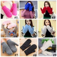 Wholesale 9 Colors New Winter Warm Faux Rabbit Fur Mitten Women Wrist Arm Hand Outdoor Gloves Faux Rabbit Fur Mittens Accessories LJJC5232 pair