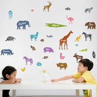 bedroom wardrobes design - 2016 animal silhouette at the kindergarten classroom Children room wardrobe cabinets refrigerator can remove the decorative wall stickers