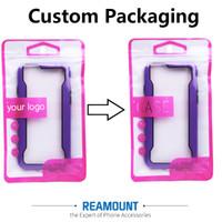 Venta al por mayor Personalizar LOGO Super Protección Venta al por menor Zip Lock plástico al por menor Bolsa de embalaje para teléfono caso para iPhone 5s 6 6plus