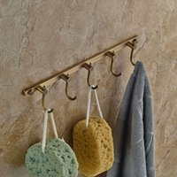 antique clothes rack - Antique Brass Wall Mounted Brass Hooks Towel Clothes Hanger Bathroom Kitchen Rack