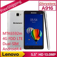 Wholesale Original Lenovo A916 Mobile Phone MTK6592M Octa Core G Multi language G FDD LTE Dual SIM Dual Standby inch HD G RAM GB ROM