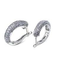 amazing brass - DC1989 Amazing C shape Hoop earrings for women K Gold Platinum Plated Clear White Cubic Zirconia Lead free Brass