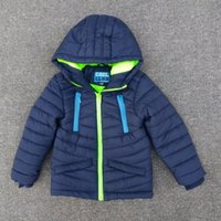 add down outerwear - Fashion new style winter Europe boys Add cotton coat parkas children s dark blue solid zipper outerwear baby clothes keep warm