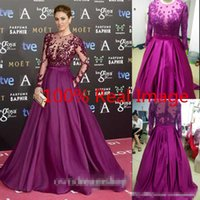 Wholesale Lavender Draped Sides Dress - Zuhair Murad 2016 Real Photo Evening Dresses Bead Sheer Neck Long Sleeves Illusion Bodice Sequins Runaway Red Carpet Formal Prom Party Gowns
