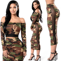Two Piece Dress Mid-Calf Short Summer Women Club Dress Two Piece Outfits Bodycon Midi Dress Sexy Party Night Club Vestidos Camouflage Dresses