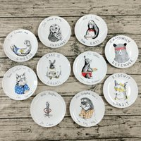 Wholesale 8 Inch Ceramic Steak Plate Cartoon tableware Dinner Pan Western Style Fruit Sushi Plates Serving Dish