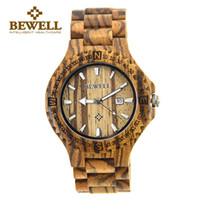 Wholesale BEWELL Men s Natural Wooden Wristwatch Wood Watch Quartz with Date Casual Watch Men Watch Relogio Masculino A